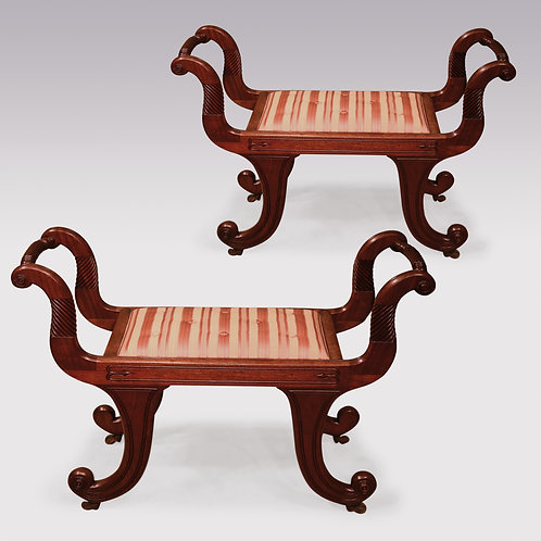 Pair of Regency Period Mahogany Window Seats