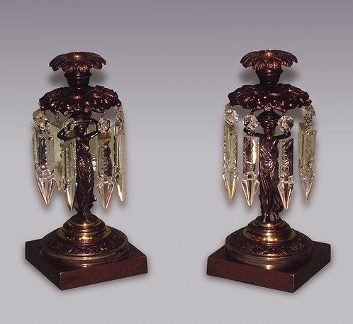 Pair of Regency Period Bronze and Ormolu Lustre Candlesticks