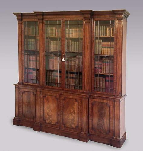 Antique George III Period Mahogany 'Gillows' Breakfront Bookcase