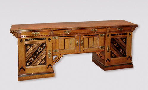 An unusual antique late 19th Century Oak Buffet.