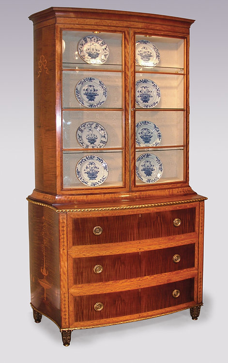 George III Style Satinwood and Harewood Display Bookcase