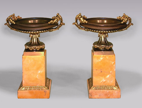 Pair of Regency Period Tazzas on Sienna Marble Bases