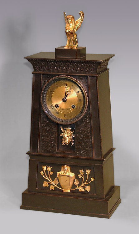 French Bronze and Ormolu Egyptian Style Clock