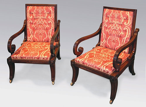 Pair of Regency Period Mahogany Sliding Library Armchairs