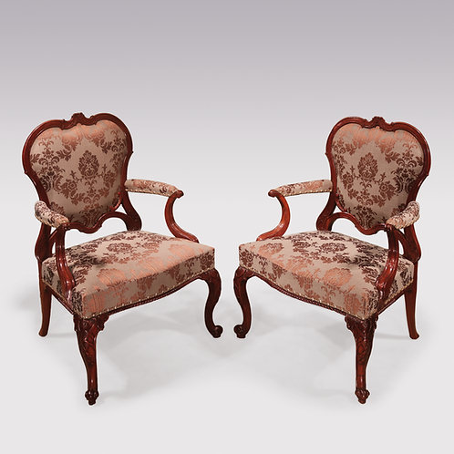 Pair of Chippendale period mahogany Library Armchairs