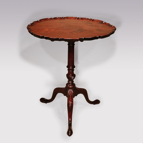 Mid 18th Century Mahogany Tripod Table with Carved Piecrust Edge