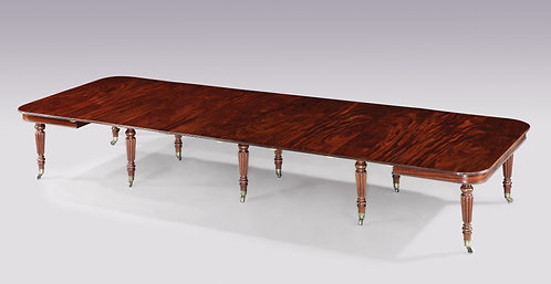 "Early 19th Century Regency Period Figured Mahogany, ""Imperial"" Dining Table"