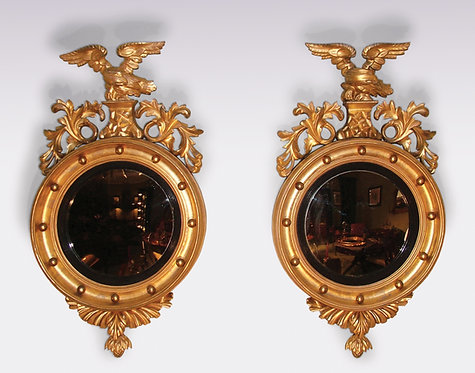 Pair of Mid-19th Century Giltwood Convex Mirrors