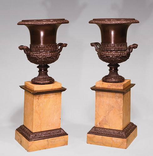 A large pair of early 19th Century bronze campana-shaped Urns.