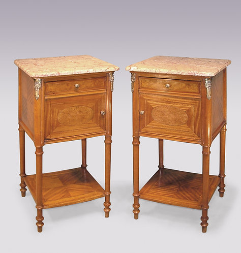 Pair of French Satinwood Bedside Cabinets