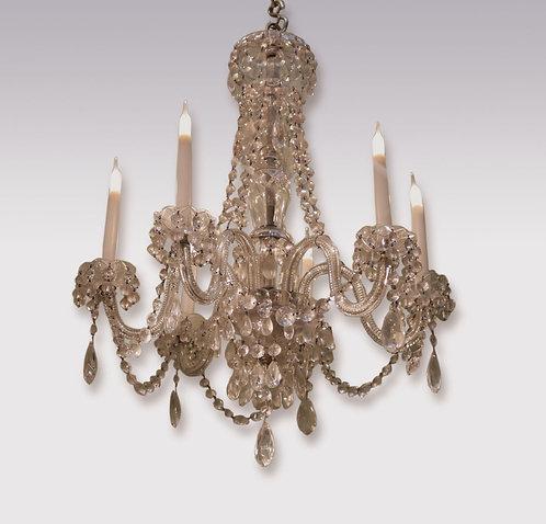 19th century six light cut glass Chandelier