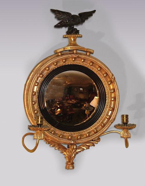 Small Regency Period Giltwood Convex Mirror