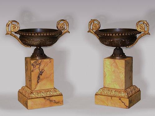 Pair of Antique Bronze and Ormolu Tazzas