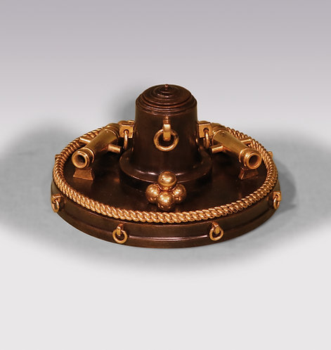 A 19th century bronze Nautical inkwell