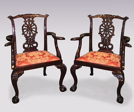 Pair of Chippendale Style Mahogany Armchairs