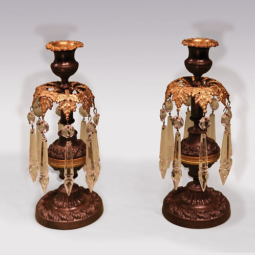 Pair of early 19th Century Regency period Bronze and Ormolu Lustre Candlesticks