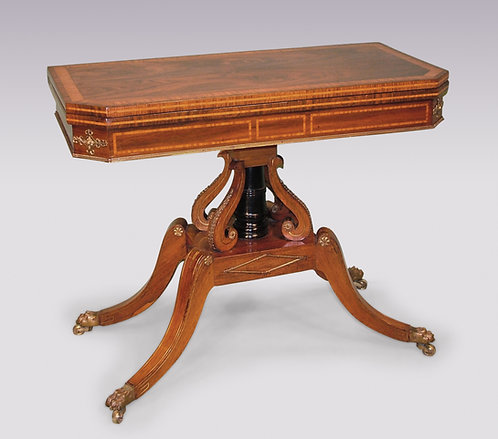 Regency period Rosewood and Satinwood Card Table on scroll pedestal base