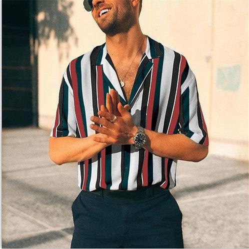 Men Breathable Stripe Summer Short Sleeve Loose Shirt