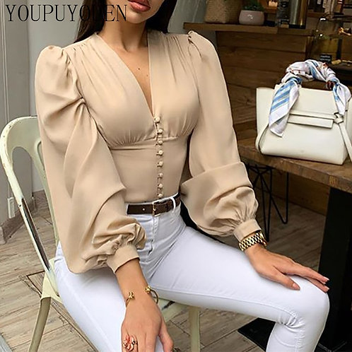 Ladies Elegant Blouse Lantern Long Sleeve Tops