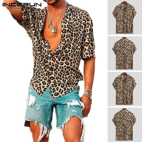 Summer Short Sleeve Leopard Print Shirt Men