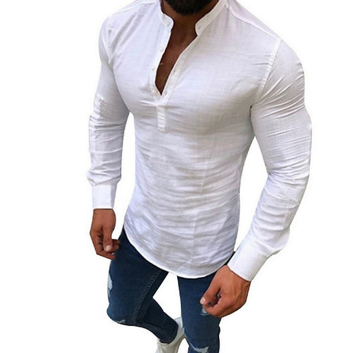 Men Long Sleeves Blouse Summer Fashion Casual