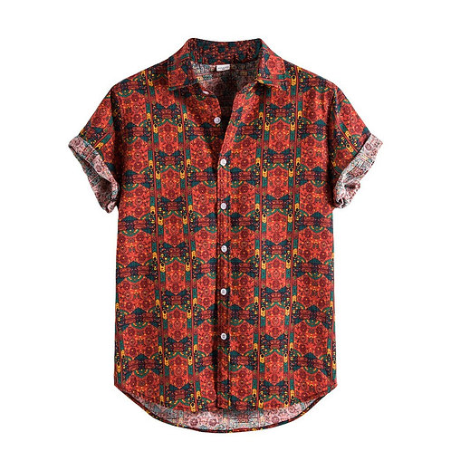 Men Shirts Short Sleeve Printed Casual Blouse Hawaiian Shirt