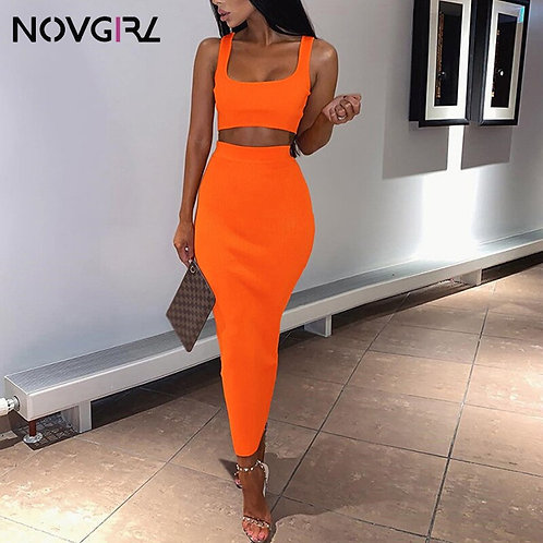 Novgirl Knitted Ribbed Two Piece Dress