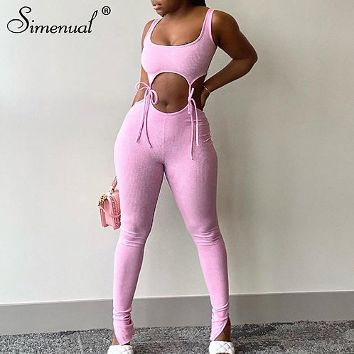 Solid Sporty  Two Piece Outfit Skinny Top and Pants Set