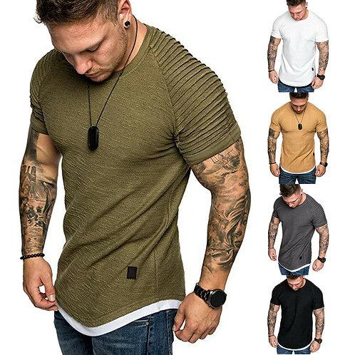 Men's  Pleated Wrinkled Slim Fit Muscle  Tshirt