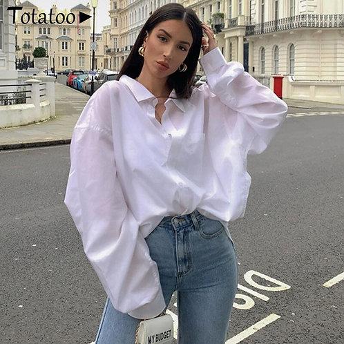 Summer Autumn Oversize Women White Shirts Turn Down Collar