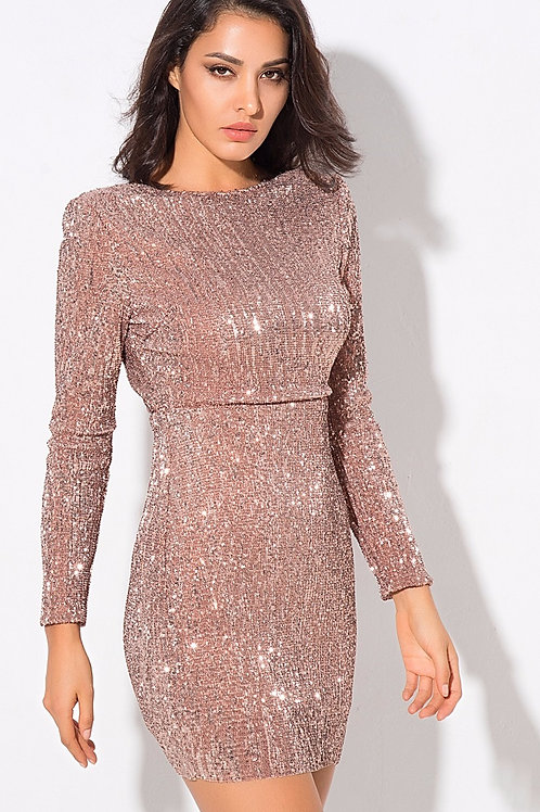 Champagne Sequin Mini Dress