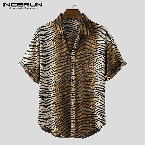 Short Sleeve Men Shirt Leopard Print Lapel