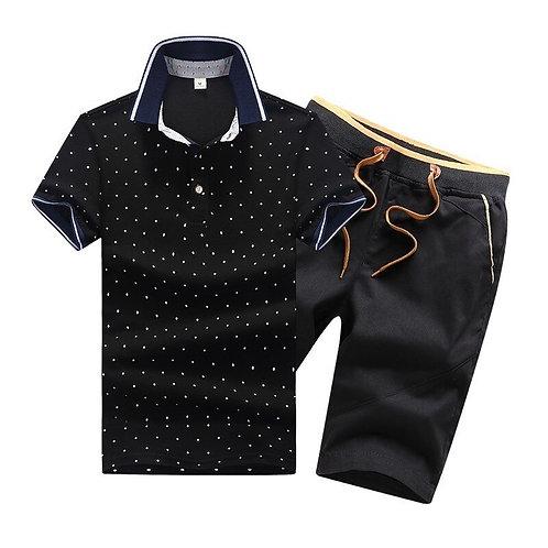 2 Piece Sets Men Cotton Summer Mens Polo Shirts & Shorts