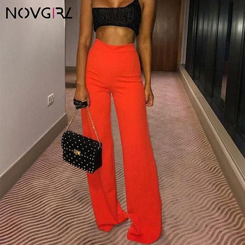 Novgirl High Waist Sexy Neon Wide Leg Pants