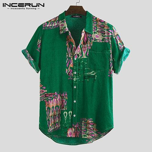 Summer Stylish Printed Shirt Men Cotton Short Sleeve