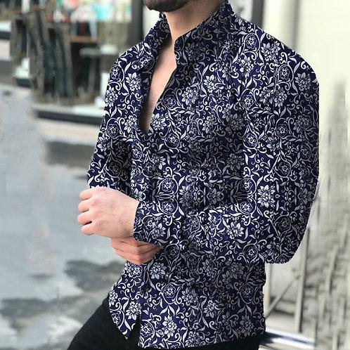 Blusa Masculina Casual Printed Floral Long Sleeve Shirts
