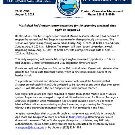 MS Snapper Season Reopening