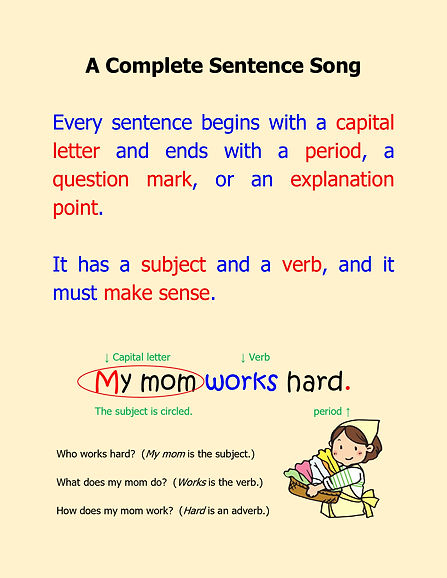 Complete Sentence Song