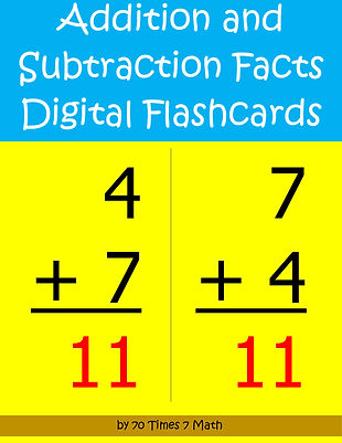 Addition and Subtraction Facts Digital Flashcards, by 70 Times 7 Math (a division of Habakkuk Educational Materials)