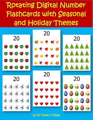 Rotating Digital Number Flashcards with Seasonal and Holiday Themes, by 70 Times 7 Math (a division of Habakkuk Educational Materials)