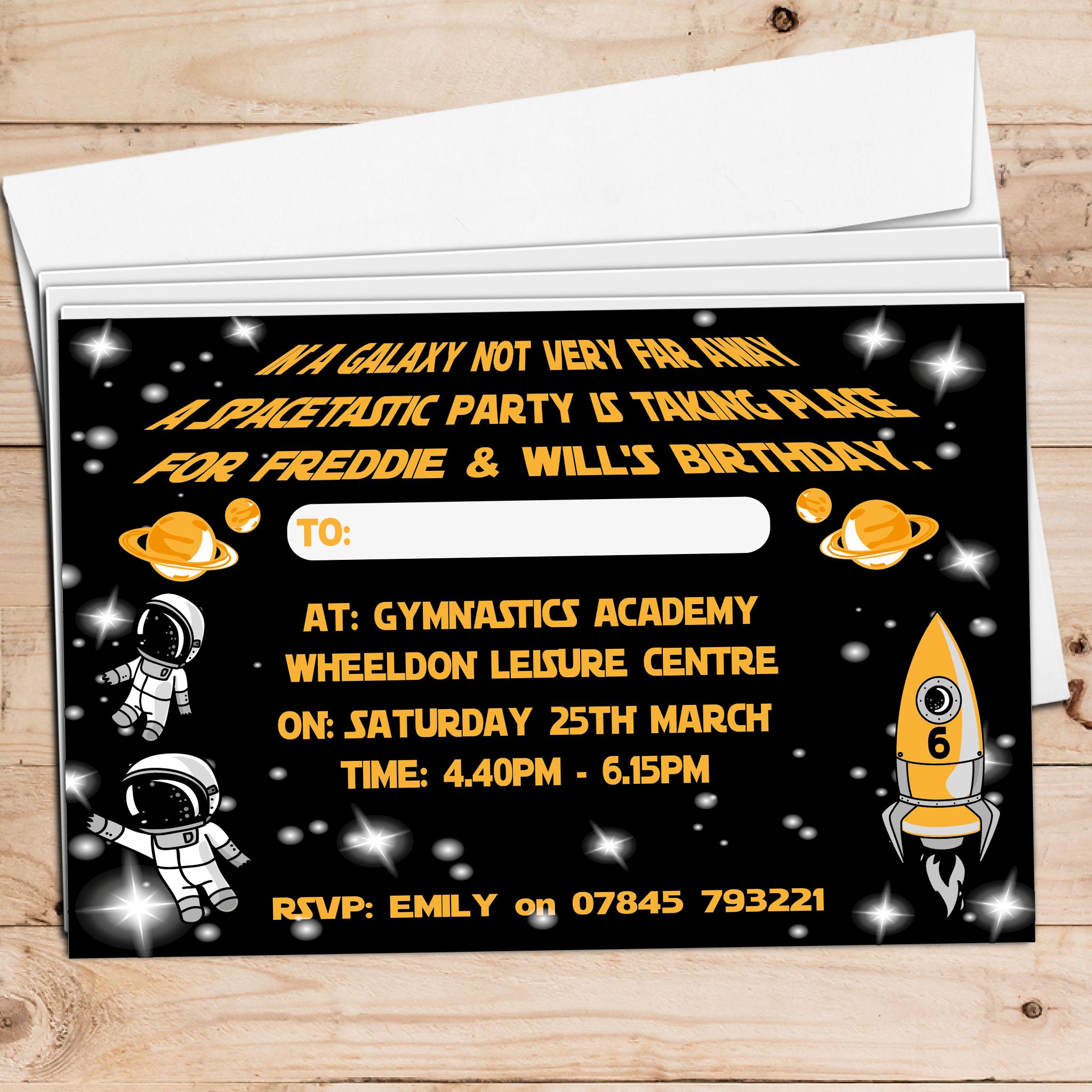 space birthday invite