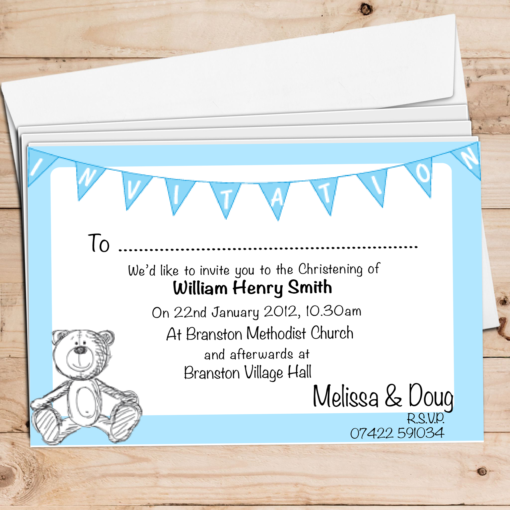 Bear Christening Invite