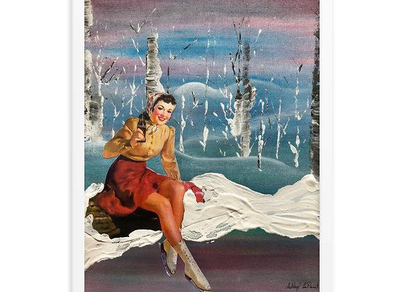 Figure Skating Pin Up Girl Framed Poster Print