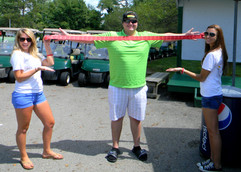Justin Pettis has the perfect arm span for buying raffle tickets!