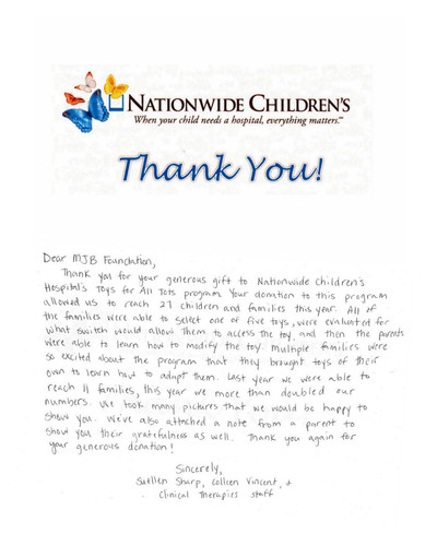 Nationwide Thank You Note