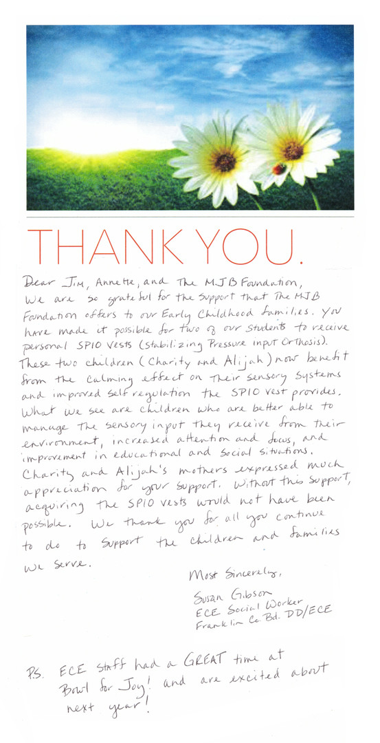 2020 Thank You from Susan Gibson for Ali