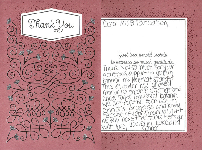 Connor Family Thank You Note