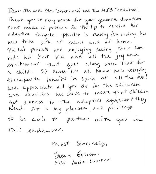 Phillip thank you note from Susan Gibson