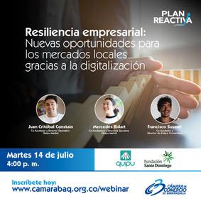 """Webinar Camara de Comercio Barranquilla & Quipu """"Resiliencia empresarial: Nuevas oportunida"""