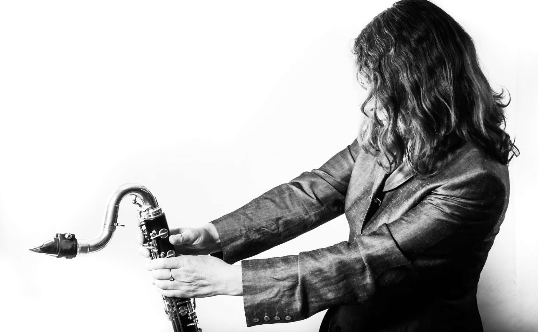 Karen Wimhurst and Bass Clarinet 1  (B&W)